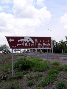 Bed in the Bush Roadsign pointing to Afrikania's studio.
